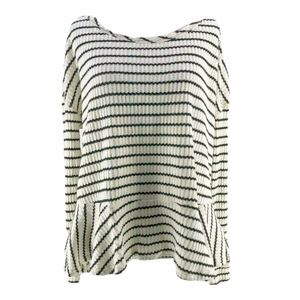 We the Free White Striped Thermal Peplum Blouse